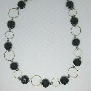 Black, Silver and Gold Metal Necklace